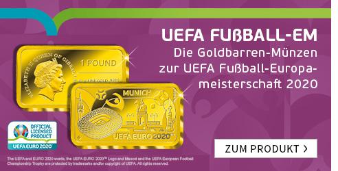 """Die Goldbarren-Münzen zur UEFA Fußball-Europameisterschaft 2020 – Start: """"München""""!"""