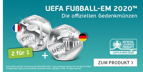 """Die offiziellen Gedenkmünzen zur UEFA EURO 2020™ – Start: """"Deutschland"""" und """"Frankreich""""!"""